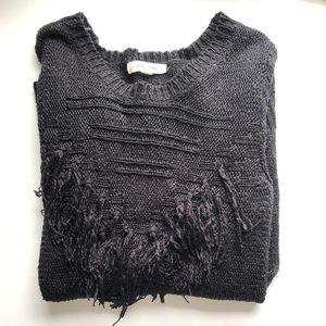 Pink Rose Black Fringe Triangle Sweater